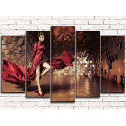 Модульная картина Девушка в красном 125х80 см