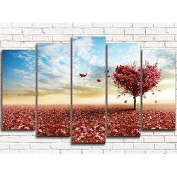 Модульная картина Дерево любви 125х80 см 5 модулей