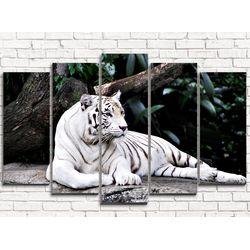 Модульная картина Белый тигр 125х80 см 5 модулей
