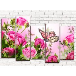 Модульная картина Букет алых роз 125х80 см