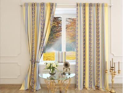 Шторы желто синие Лусия