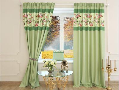 Шторы зеленые с цветами Нефит