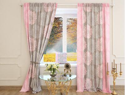 Шторы серо розовые Митродора