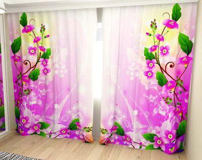 Шторы Цветочный мотив ГАБАРДИН  (В:250хШ:300) с подушками